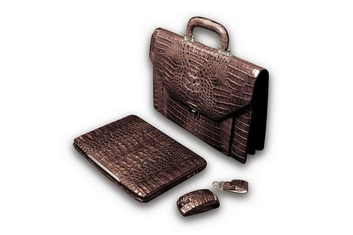 MJ Super PC Laptop Royal  Kit Future Edition - Crocodile & Shark Leather, Platinum Fur. Notebook, Bag, Mouse & Flash Drives