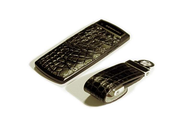 MJ Ultra Slim Leather Mobile Phone with USB Flash Drives Crocodile 128gb