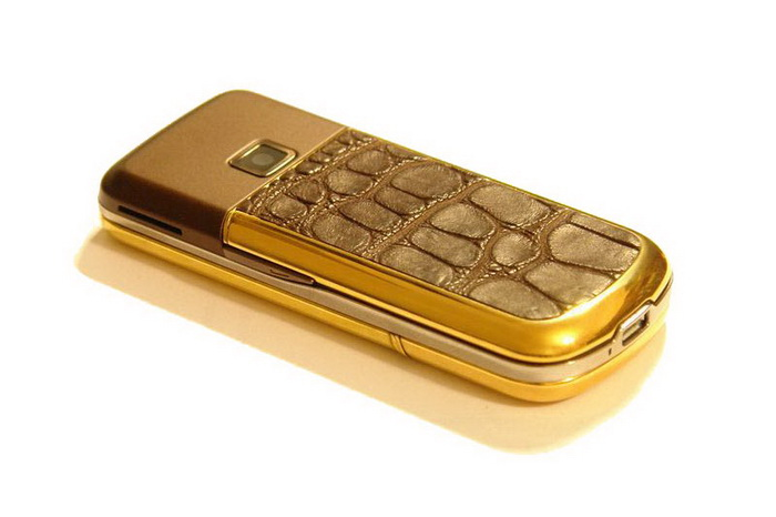 MJ Gold Leather Mobile Phone - Nokia 8800 Gold Arte, Crocodile Skin