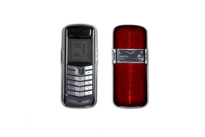 MJ Blue Platinum 666 Mobile Phone - Vertu Limited Edition, Red Sea Een & Diamond Joystick