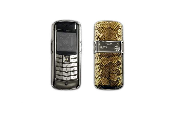 MJ Business Mobile Phone, Vertu Constellation Python Original Leather, Steel Platinum Case with Bolts, Yellow Diamond