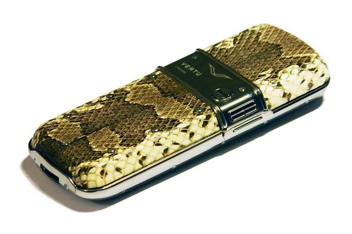 MJ Exotic Leather Mobile Phone - Vertu White Gold Python Leather