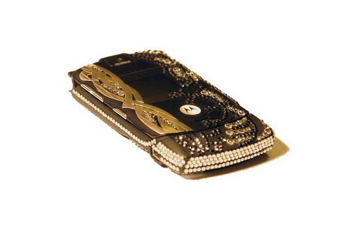 MJ Royal Mobile Phone - Motorola v3 Fashion Swarovski Style