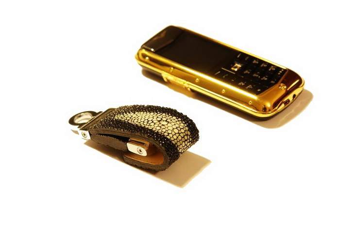 MJ Luxury Mobile Phone Vertu Gold Constellation with USB Flash Drives Stingray Leather