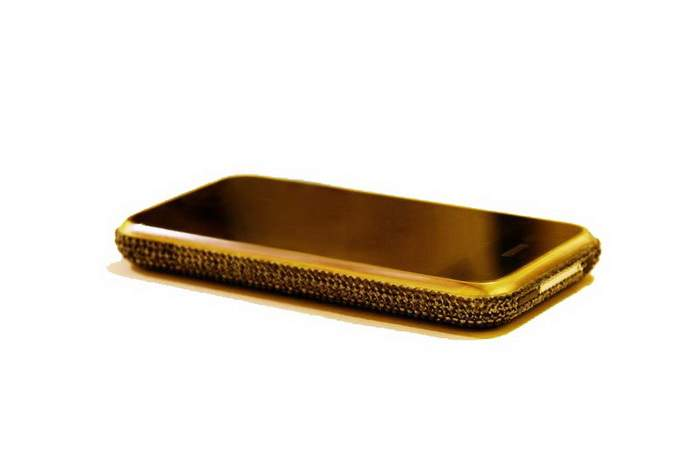 MJ Gold Diamond Phone - Apple iPhone 64gb. Solid Gold 777. Black Diamonds