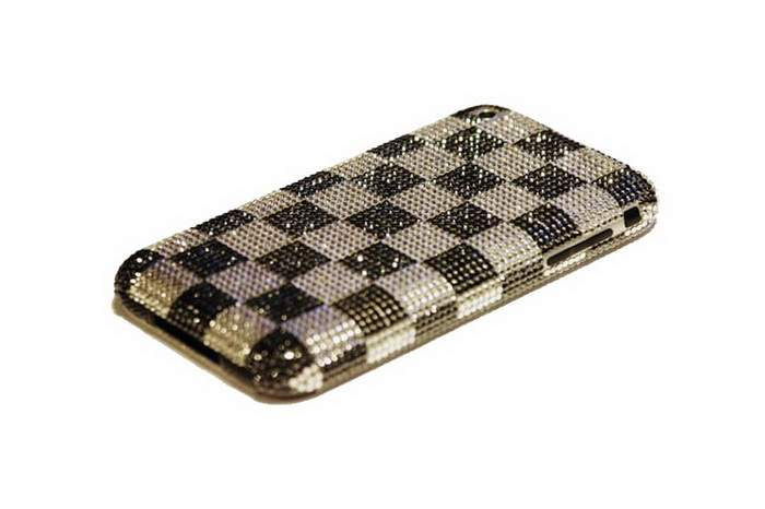 MJ Adamant Mobile Phone - Apple iPhone Inlaid Black & White Diamonds
