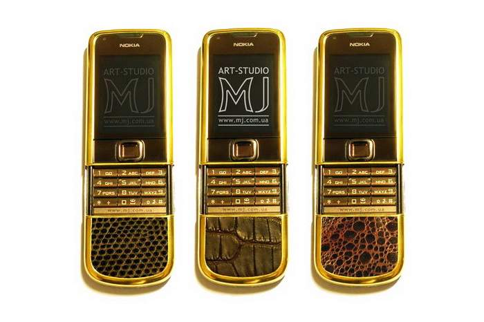 MJ Gold Mobile Phones - Nokia 8800 Gold Arte Exotic Leather - Varan, Crocodile, Red Frog