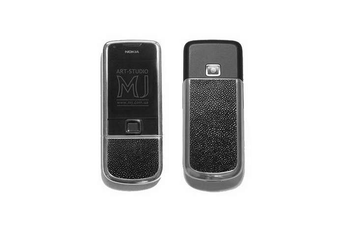 MJ White Gold Phone - Nokia 8800 Arte White Gold 750, Decorate Genuine Stingray