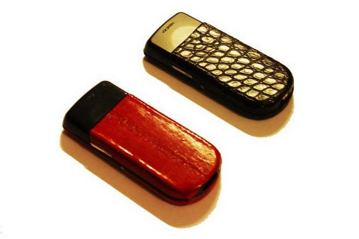 MJ Leather Mobile Phone - Red Sea Eel & Chocolate Crocodile Genuine Leather